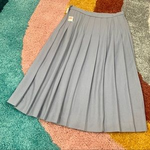 VINTAGE NWT Pleated Skirt Grey Wool Blend